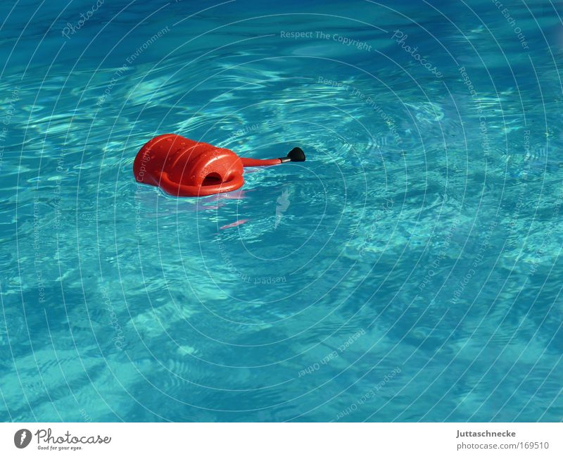 Swimming can(s)e Jug Watering can Swimming pool Waves be afloat drift Turquoise Blue Go under Red Full Fresh Wet Cold Summer Juttas snail