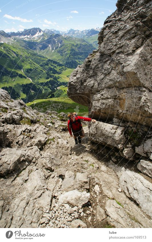 steeply uphill Colour photo Exterior shot Day Sunlight Wide angle Downward Man Adults 1 Human being Nature Landscape Horizon Summer Beautiful weather Rock Alps