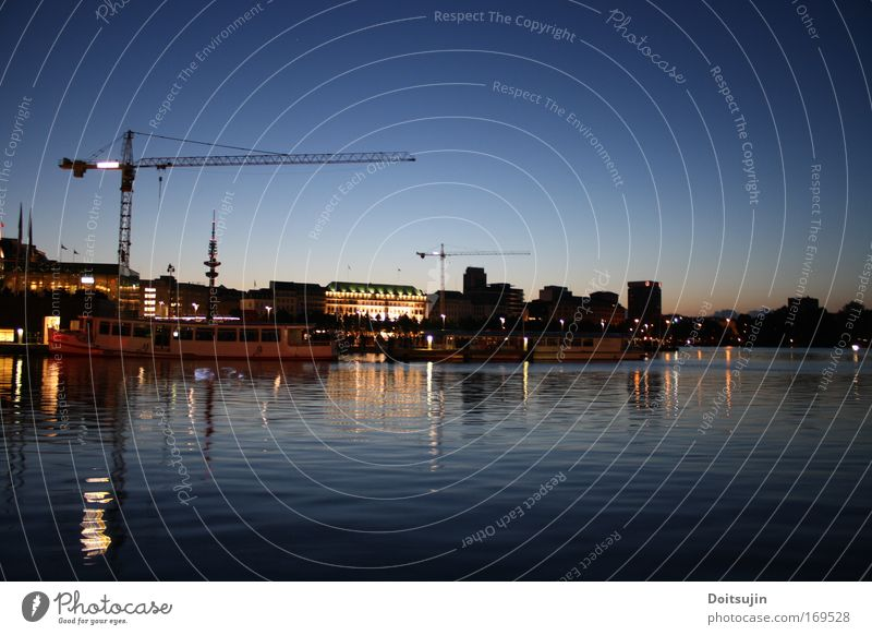 Inner Alster at night Colour photo Exterior shot Deserted Night Long exposure Panorama (View) Hamburg Germany Europe Port City Downtown Tourist Attraction Water