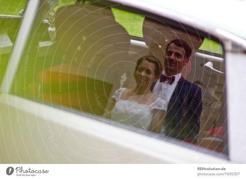 Happy day, bride and groom in the car. Contentment Feasts & Celebrations Wedding Human being Masculine Feminine Woman Adults Man Couple Partner 2 18 - 30 years