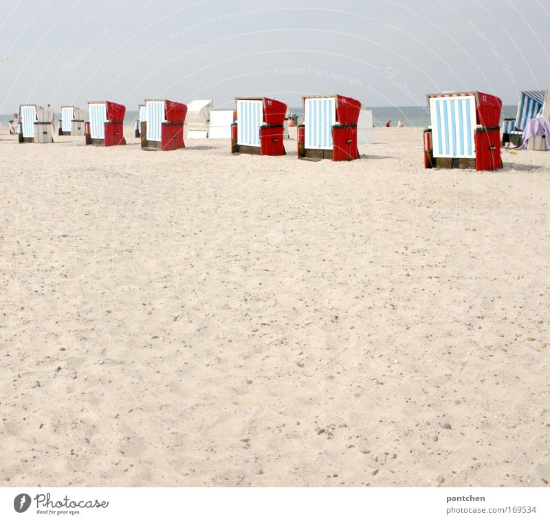Beach vacation. Beach chairs are lined up on the beach of Warnemünde Wellness Life Well-being Relaxation free Vacation & Travel Tourism Trip Ocean Esthetic