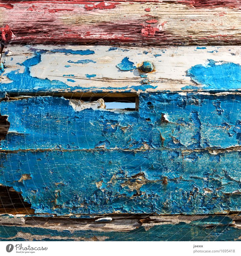lacquer Fishing boat Wood Old Blue Red Decline Transience Change Weathered Varnish Colour Flake off Colour photo