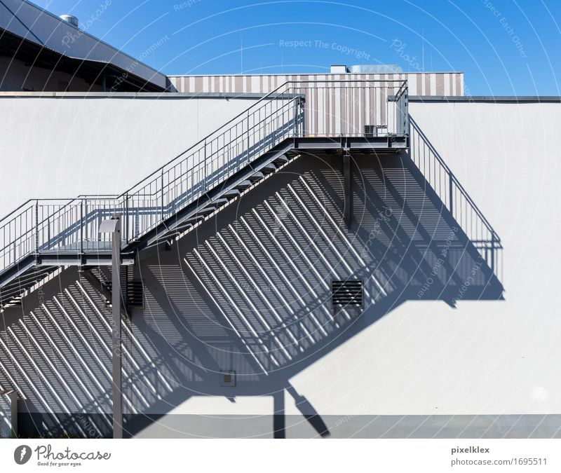 Stairs with shade Town Outskirts Deserted House (Residential Structure) Wall (barrier) Wall (building) Bright Blue Gray White Building Banister Story