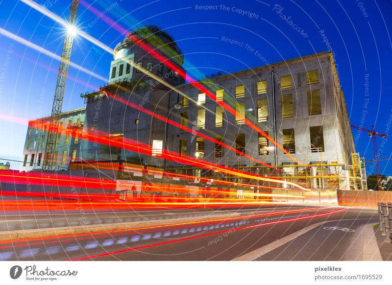 Construction site Berlin City Palace Transport Road traffic Street Build Illuminate Modern New Speed Town Castle Night Tracer path Dark Evening Twilight Light