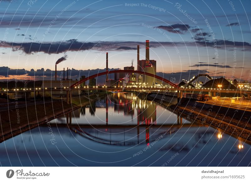 coal-fired power station Industry Energy industry Company Technology Coal power station Landscape Water Sky Climate Climate change River bank Rhine Mannheim