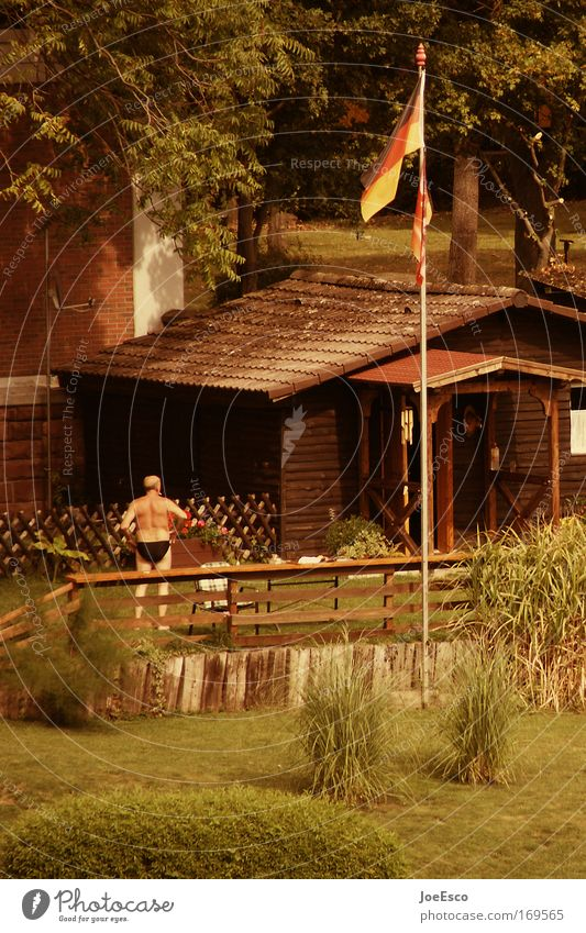 Human being Man Nature Tree Vacation & Travel House (Residential Structure) Relaxation Senior citizen Grass Garden Germany Contentment Leisure and hobbies