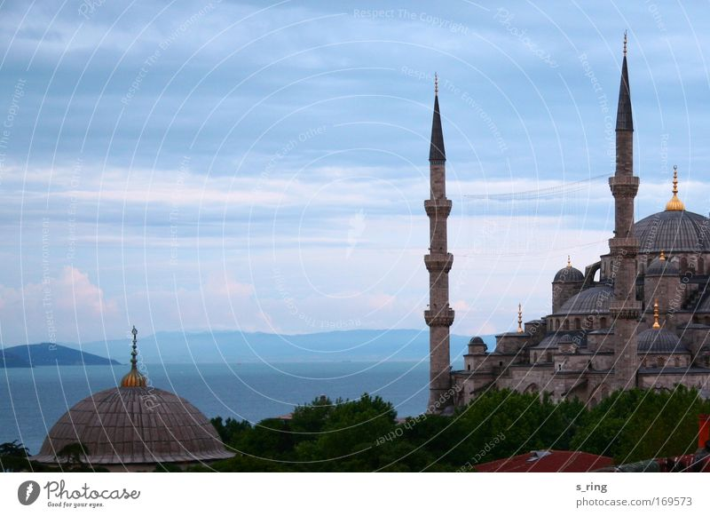 all blue Ocean Istanbul Turkey Europe Capital city Port City Old town Deserted Architecture Mosque Minaret Tourist Attraction Landmark Blue Mosque muezzin