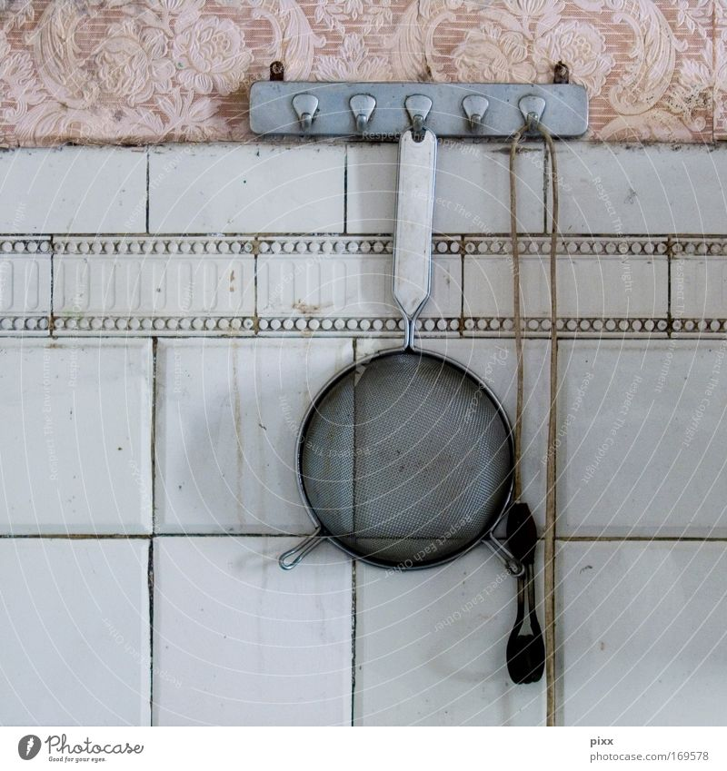 sifted Sieve 7 Divide forsake sb./sth. Derelict Tile Wallpaper Pattern Pink Old Household Kitchen Wall (building) Cooking Family Noodles Ruin Cable Checkmark