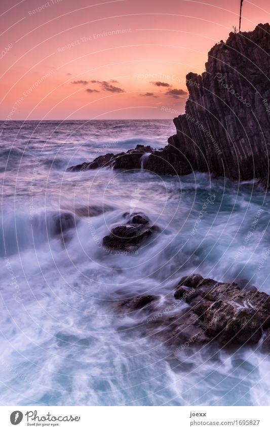 Waves, rocks, sunset Ocean Evening Riomaggiore coast Twilight Deserted Exterior shot Rock Sunset Italy Sky Landscape Elements Horizon Nature Colour photo Brown