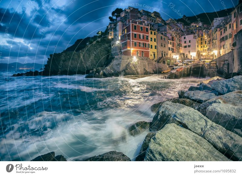 We'll meet again. Sky Clouds Beautiful weather Rock Coast Riomaggiore Italy Fishing village Old town House (Residential Structure) Facade Tourist Attraction
