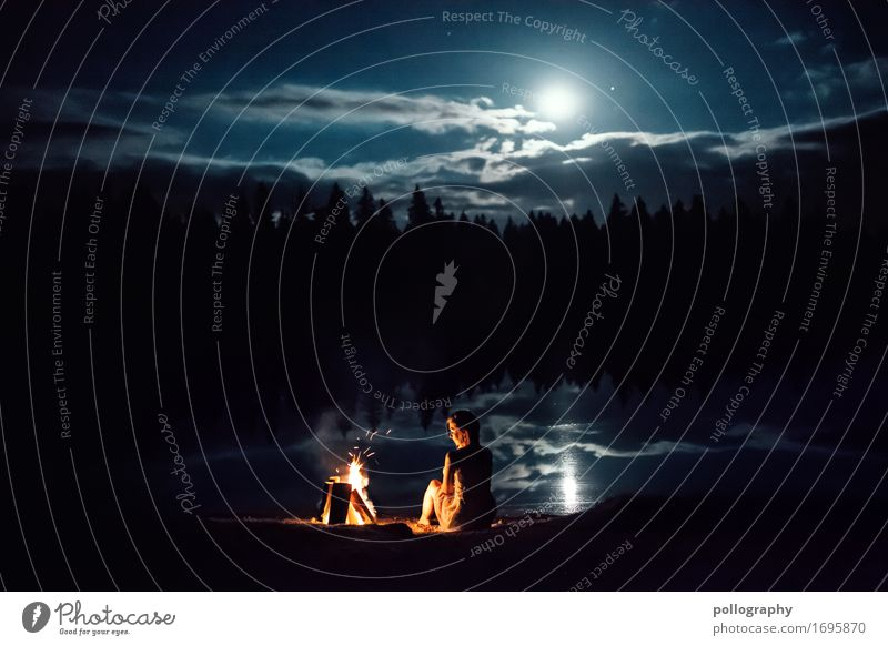 alone Lifestyle Beautiful Leisure and hobbies Camp fire atmosphere Feminine Adults 1 Human being Nature Landscape Water Moon Full  moon Forest Sit Esthetic