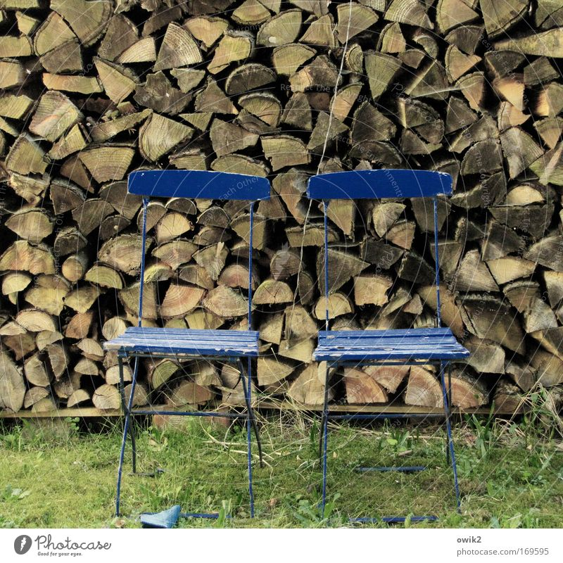 Wood to wood Living or residing Garden Arrange Furniture Chair Nature Grass Camping chair Relaxation Wait Old Poverty Sharp-edged Historic Blue Brown Green