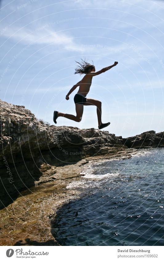 Human being Sky Nature Man Blue Summer Ocean Adults Landscape Freedom Coast Jump Legs Swimming & Bathing Waves Arm