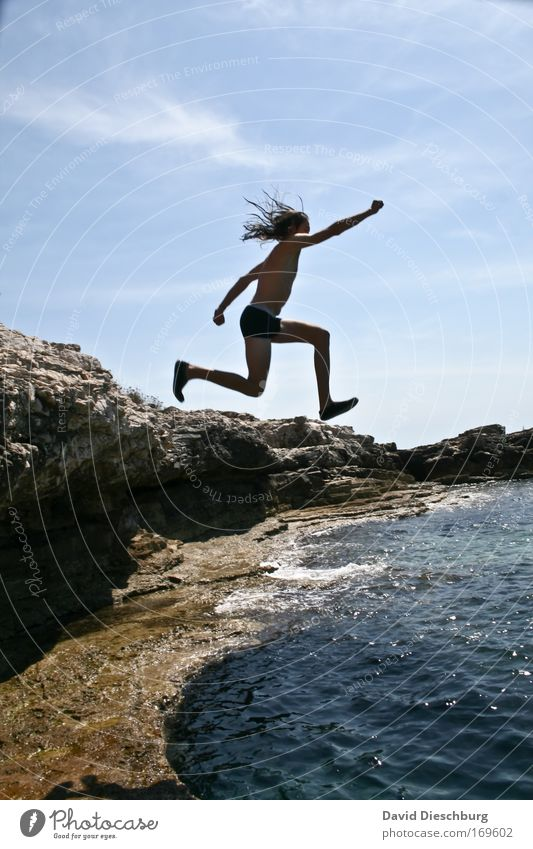 Human being Sky Nature Man Blue Summer Ocean Adults Landscape Freedom Coast Jump Legs Swimming & Bathing Waves Arm