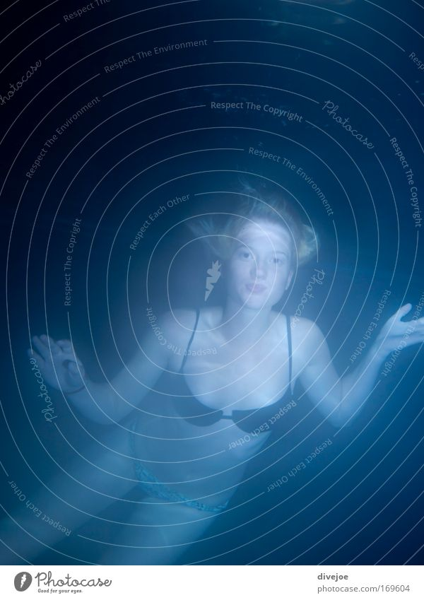 mermaid Subdued colour Exterior shot Underwater photo Evening Twilight Motion blur Front view Looking Looking into the camera Forward Joy Wellness Life