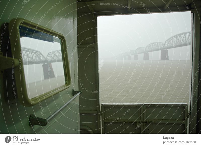Bridges over the Irrawaddy Colour photo Exterior shot Deserted Copy Space middle Dawn Central perspective Forward Water Fog Rain Coast River Ayeyarwady river