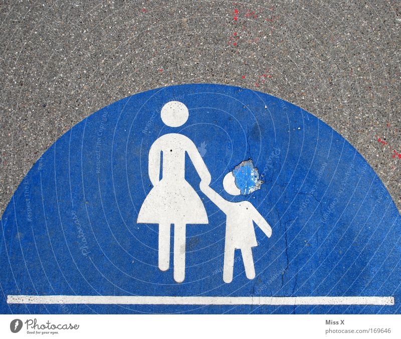 Human being Child Blue Adults Street Lanes & trails Going Signs and labeling Transport Broken Mother Protection Sign Footpath Sidewalk Traffic infrastructure