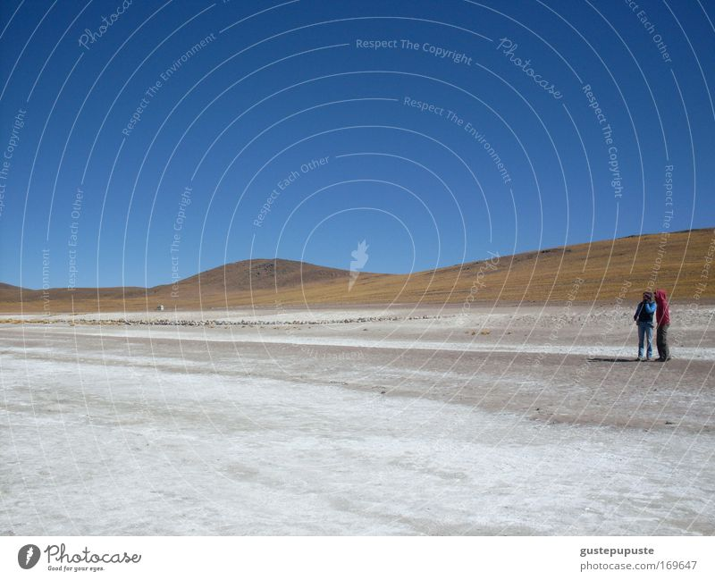togetherness Colour photo Exterior shot Day Panorama (View) Sand Sky Hill Desert Stand Far-off places Blue Brown White Secrecy Together Calm Loneliness