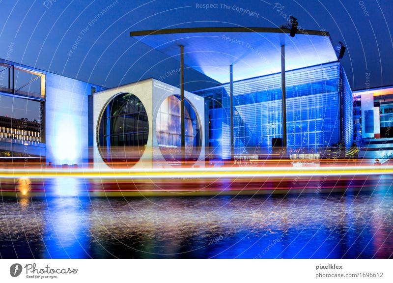Chancellery at night Tourism Sightseeing City trip Berlin Germany Europe Town Capital city Downtown Building Architecture Tourist Attraction Modern New Blue