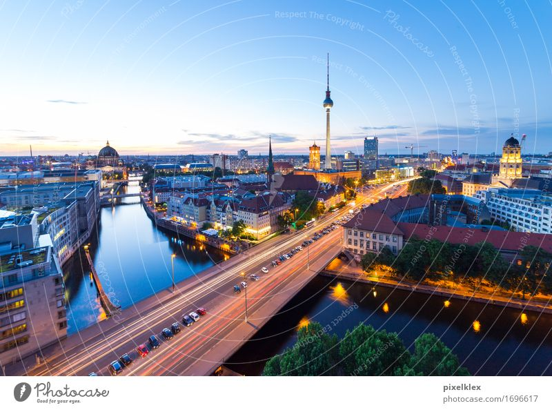 Skyline Berlin Tourism City trip Night life Sunrise Sunset Germany Town Capital city Downtown House (Residential Structure) High-rise Bank building Bridge