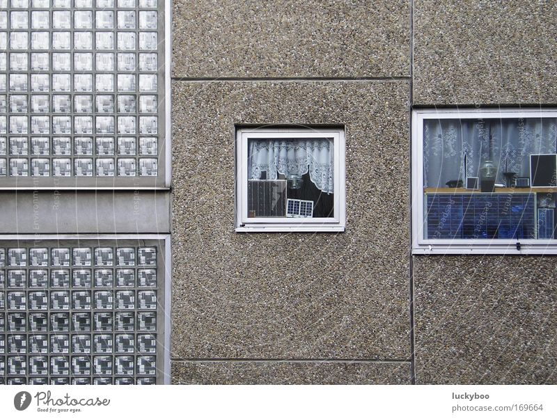 Old House (Residential Structure) Loneliness Cold Wall (building) Window Gray Wall (barrier) Building Glass Concrete Facade Arrangement Retro Gloomy Living or residing