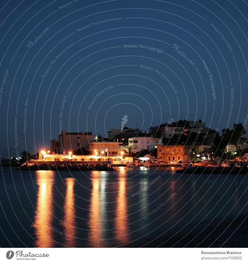 silent nighttime Colour photo Exterior shot Deserted Copy Space top Copy Space bottom Neutral Background Night Reflection Long exposure Vacation & Travel