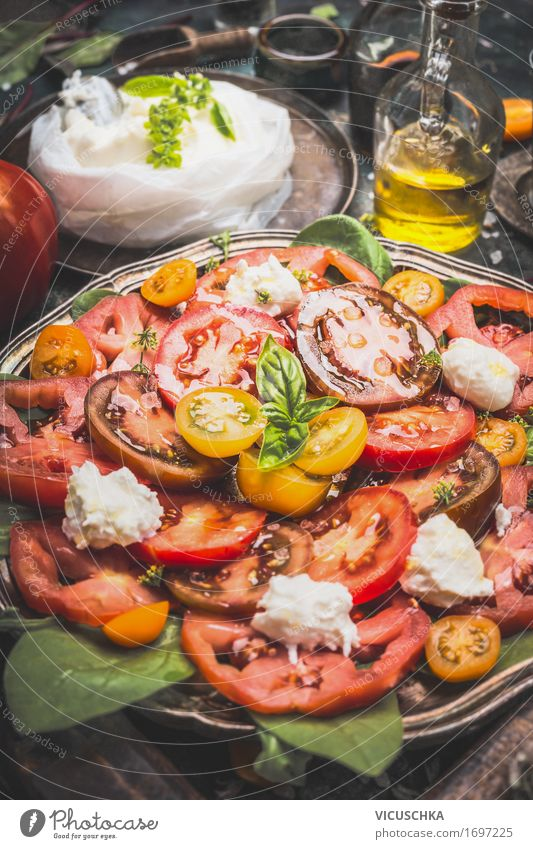 Italian Tomato Mozzarella Salad Food Vegetable Lettuce Herbs and spices Cooking oil Nutrition Lunch Dinner Banquet Organic produce Vegetarian diet Diet