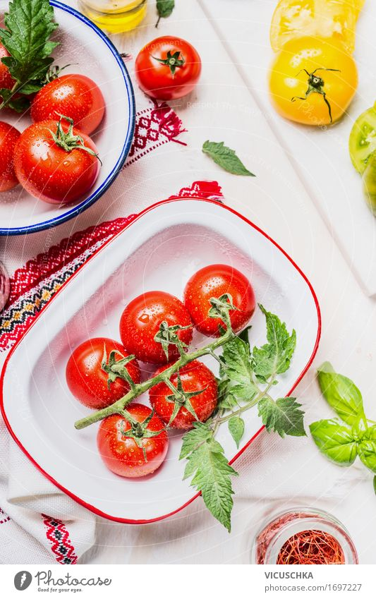 Colorful tomatoes in enamel bowls Food Vegetable Lettuce Salad Nutrition Lunch Buffet Brunch Organic produce Vegetarian diet Diet Crockery Bowl Style Design