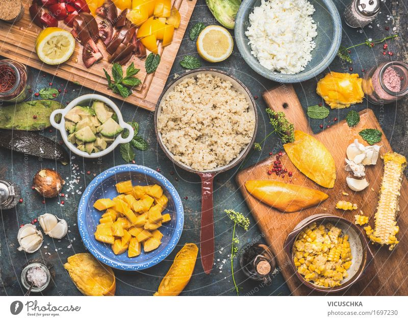 Quinoa Salad Preparation Food Vegetable Lettuce Fruit Herbs and spices Nutrition Lunch Dinner Buffet Brunch Banquet Organic produce Vegetarian diet Diet