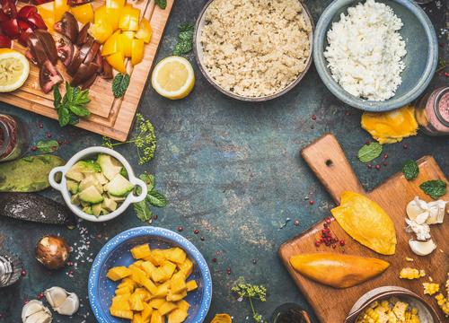 Healthy Eating Life Style Food Design Living or residing Nutrition Table Herbs and spices Kitchen Vegetable Grain Organic produce Crockery Dinner