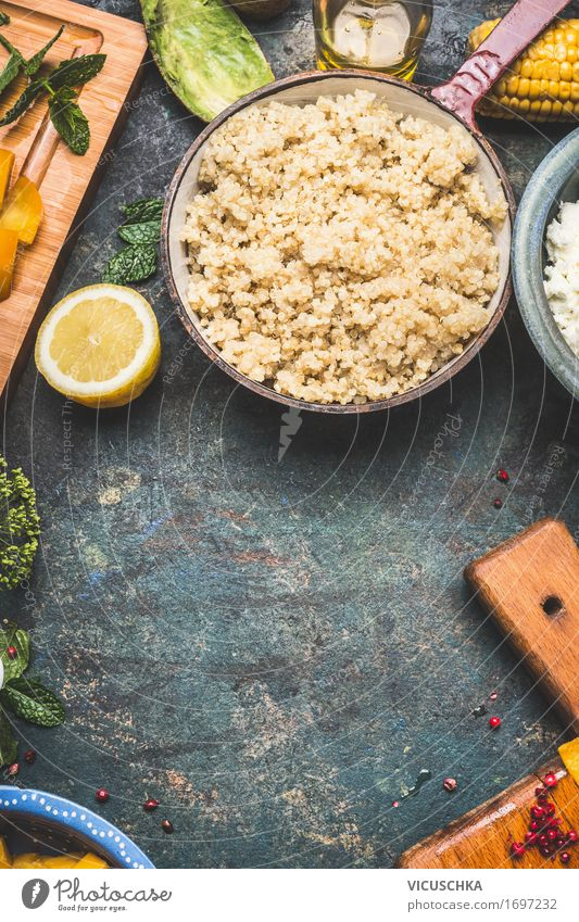 Cooked quinoa in a rustic saucepan Food Vegetable Lettuce Salad Grain Nutrition Lunch Banquet Organic produce Vegetarian diet Diet Crockery Pot Style Design