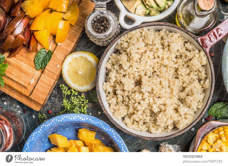 Cooked quinoa in old pot and vegetarian ingredients Food Vegetable Fruit Grain Herbs and spices Cooking oil Nutrition Lunch Dinner Buffet Brunch Organic produce