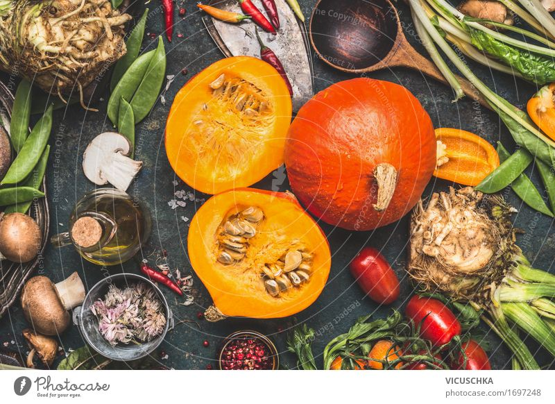 Hokkaido pumpkin with mushrooms and vegetables Ingredients Food Vegetable Herbs and spices Cooking oil Nutrition Organic produce Vegetarian diet Diet Crockery