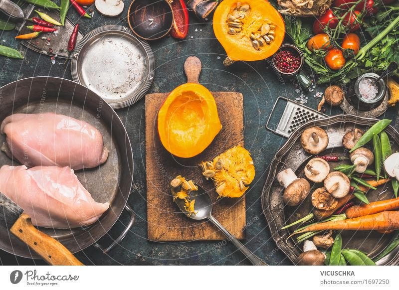Autumn cooking with pumpkin and mushrooms Food Meat Vegetable Herbs and spices Cooking oil Nutrition Lunch Dinner Buffet Brunch Banquet Organic produce