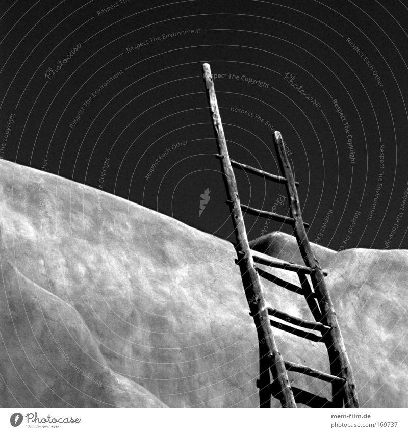 Where are you going? Whereto Ladder Black & white photo adobe Santa Fé Sky Heaven Rung Square Loam Clay brick houses Stairs