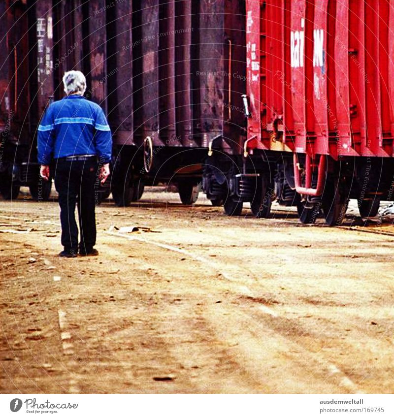 Old Man Colour photo Multicoloured Exterior shot Copy Space bottom Day Contrast Central perspective Full-length Rear view Economy Industry Logistics Technology