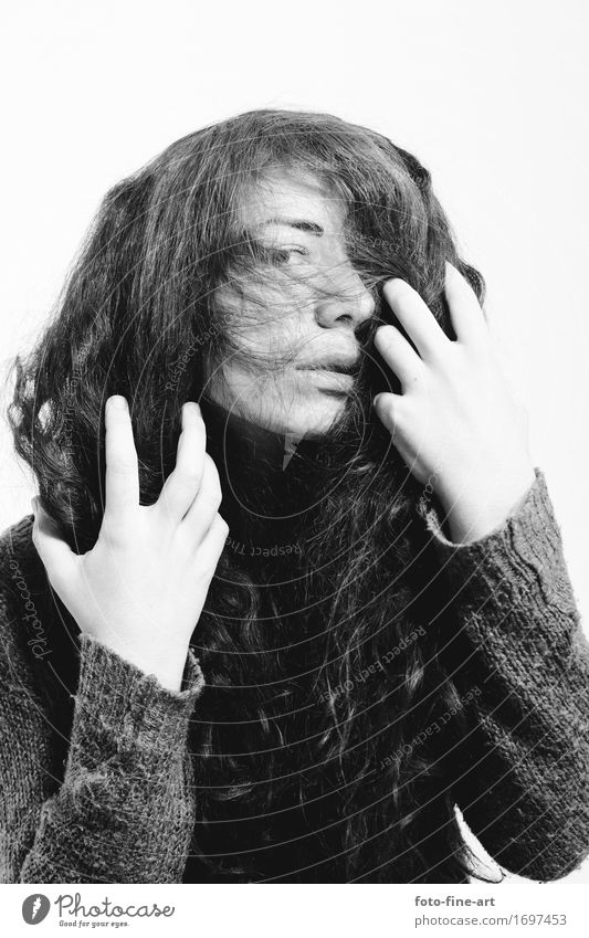 Portrait View Woman Girl Hair and hairstyles Long-haired Sweater Fashion Lifestyle Mysterious Looking Looking into the camera Hand Emotions Eyes Identity