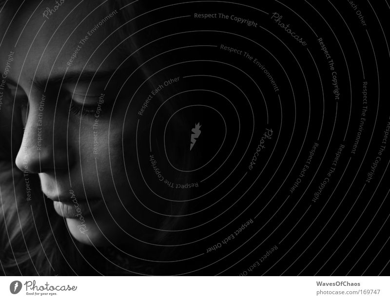 Gentle Black & white photo Interior shot Abstract Neutral Background Shadow Silhouette Portrait photograph Downward Human being Feminine Young woman