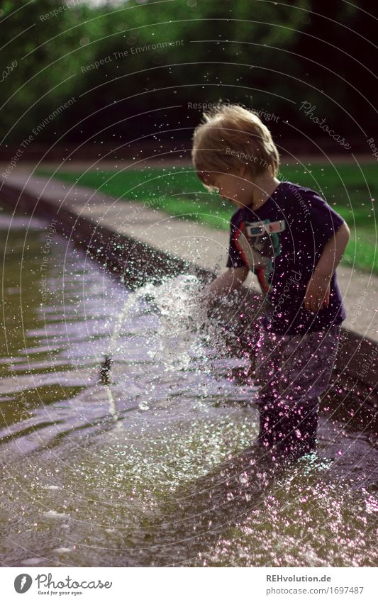 Human being Child Nature Summer Water Joy Environment Meadow Grass Boy (child) Playing Happy Small Freedom Masculine Park