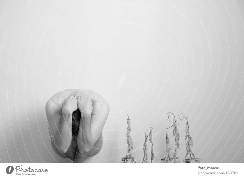 Hide Me From My Fears Black & white photo Interior shot Nude photography Copy Space top Neutral Background Central perspective Intoxicant Alcoholic drinks Man
