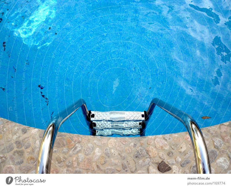 Come on, have the guts! Swimming pool Blue Water Ladder swimming ladder Refrigeration Cold Cooling