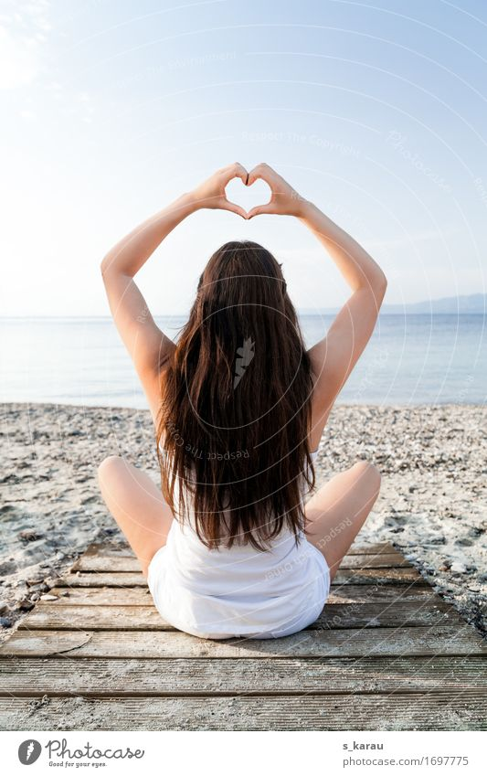 Human being Vacation & Travel Youth (Young adults) Summer Young woman Ocean Relaxation Calm Beach Feminine Lifestyle Healthy Hair and hairstyles Contentment Leisure and hobbies Heart