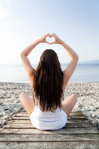 Human being Vacation & Travel Youth (Young adults) Summer Young woman Ocean Relaxation Calm Beach Feminine Lifestyle Healthy Hair and hairstyles Contentment