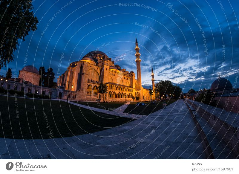 Sulemaniye Camii Vacation & Travel Tourism Trip Far-off places Sightseeing City trip Art Architecture Environment Landscape Air Sky Night sky Beautiful weather