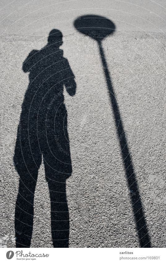 You've got a shadow ... Pattern Shadow Contrast Silhouette Wide angle Male senior Man Street Observe Stand Gigantic Under Gray Black Calm Contentment Break