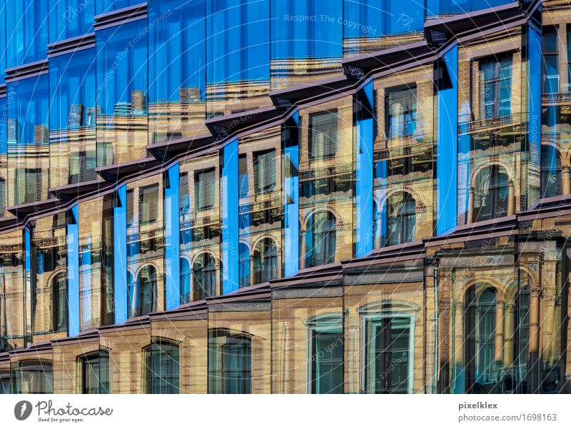 mirroring Town House (Residential Structure) Bank building Manmade structures Building Architecture Facade Window Glass Old Modern New Business Design Success