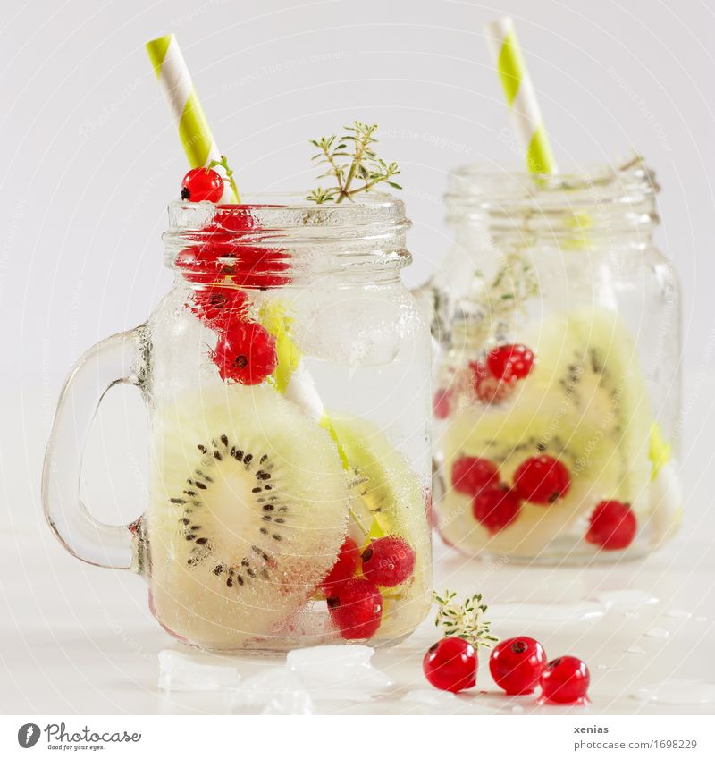 two glasses of soft drink with kiwi and currant in front of a light background Cold drink Fruit Kiwifruit Redcurrant Thyme Food Ice cube Vitamin Diet Beverage