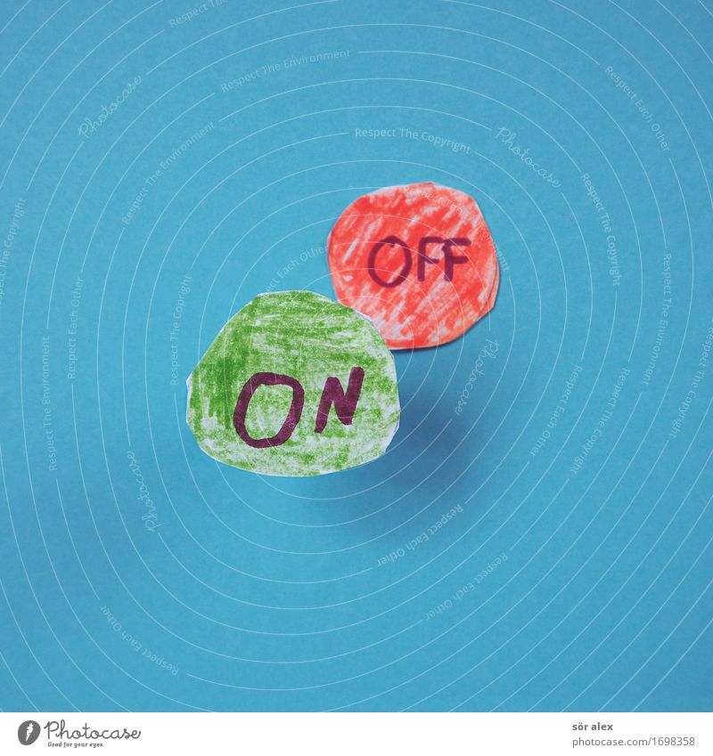 Positive Thinking Sign Characters Blue Green Red Power Mobility Future Motive off On Activate Switch off Beginning Colour photo Multicoloured Interior shot