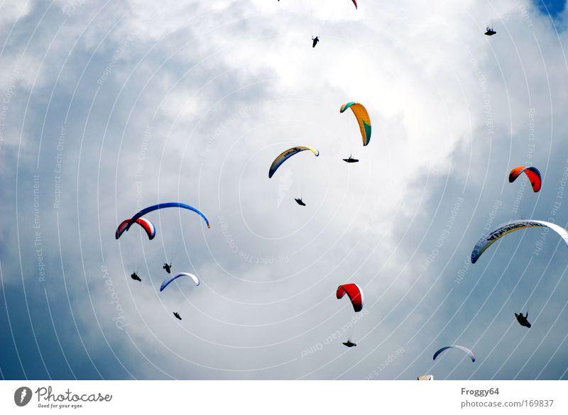 pack Multicoloured Exterior shot Copy Space left Day Sunlight Upward Sportsperson Paragliding Human being Aircraft Pilot Joie de vivre (Vitality) Competition