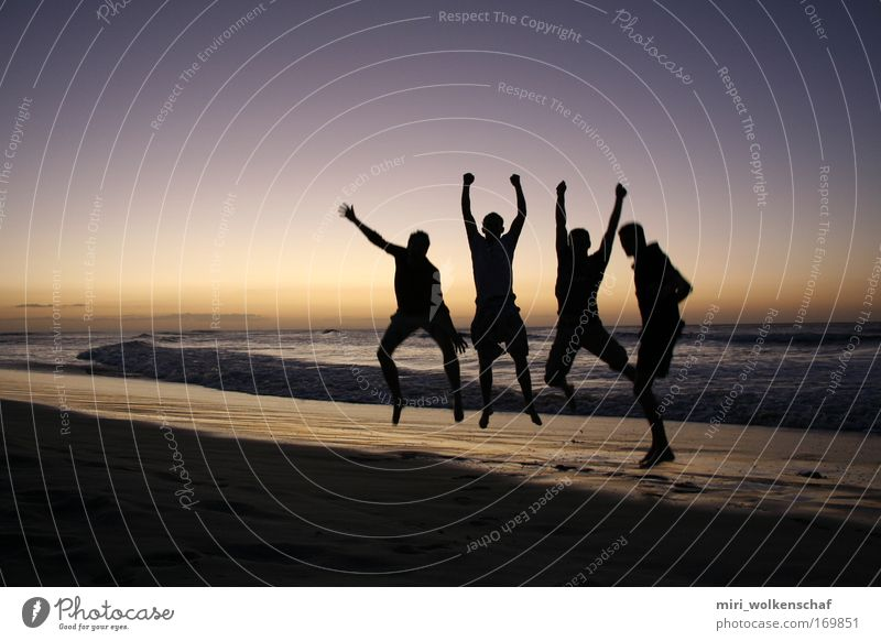 Human being Youth (Young adults) Ocean Beach Joy Jump Friendship Adults Island Sunset Joie de vivre (Vitality) Shadow Shadow play 18 - 30 years